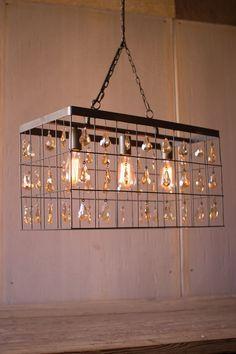 Kalalou Large Rectangle Pendant Light With Amber Glass Gems