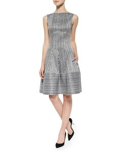 T9P0C Talbot Runhof Golo Sequined Striped Fit-And-Flare Dress, Black/White
