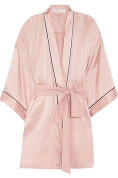 Olivia von Halle - Mimi Silk-satin Robe - Pastel pink Pink Dressing Gown df4b889f6