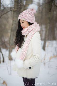 Snow Puff Ribbed Beanie