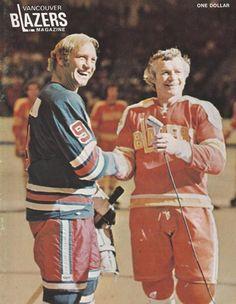 Bobby Hull and John McKenzie, Vancouver Blazers hockey programme. Bobby Hull, Bobby Orr, Women's Hockey, Hockey Players, Hockey Stuff, Nhl, Providence Bruins, St Louis Blues, National Hockey League