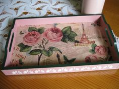Explore alcampaa& photos on Photobucket. Decoupage Wood, Eiffel, Painted Boxes, Vintage Wood, Painting On Wood, Stencils, Diy And Crafts, Shabby Chic, Tray