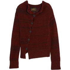 Vivienne Westwood Anglomania Art knitted wool-blend cardigan ($195) ❤ liked on Polyvore featuring tops, cardigans, vivienne westwood, merlot, asymmetrical cardigan, cardigan top, red long sleeve top, vivienne westwood anglomania and red top