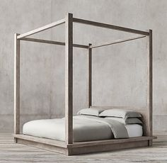 RH's Reclaimed Russian Oak Four-poster Bed:Handcrafted of solid reclaimed white oak timbers from decades-old buildings in Russia, our canopy bed is simple and functional in design. A salute to clean and contemporary style, each piece celebrates the unadorned beauty of salvaged wood.