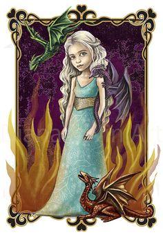 Dragon Princess Art Print  Daenerys illustration by DianaLevinArt, $15.00