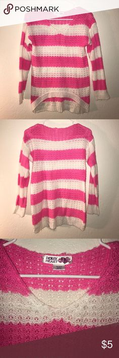 Derek Heart Girl Pink & White Knitted Sweater! You are viewing a Pre-Owned Pink and White Long Sleeved High-Low Knitted Sweater by DEREK HEART GIRL. Size is Medium 10/12. Fabric is 100% Acrylic. This Sweater comes from a pet and smoke free home. Please check out my Closet for more great deals and SAVE when you Bundle! Derek Heart Shirts & Tops Sweaters