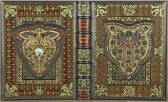 """""""Lalla Rookh: An Oriental Romance."""" by Thomas Moore of Sangorski & Sutcliffe in 1817. Sangorski & Sutcliffe were in competition with Radcliffe and Son, each trying to out-do the other. This book is adorned with 226 jewels."""