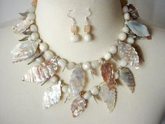 RESERVED FOR RENE- Natural Shell Statement Necklace, Mother Of Pearl Leaves, Bib Necklace, Beach Necklace