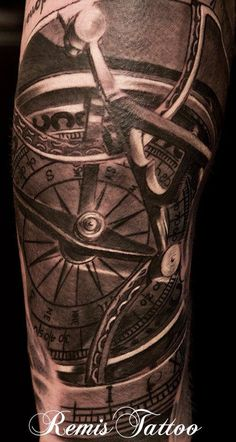 Sundial Compass Tattoo - 40 Awesome Compass Tattoo Designs  <3 <3
