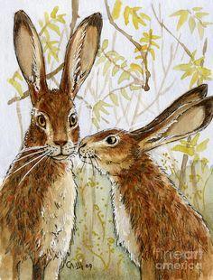 Lovely Rabbits - Little Kiss Painting by Svetlana Ledneva-Schukina