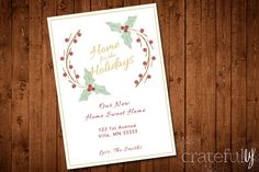 Mistletoe Wreath- Change of Address Card- Christmas- New Home Sweet Home- Digital- Printable- Custom  -Measures 5 x 7 -High Resolution  HOW TO ORDER/THE PROCESS:  1. Add the item to your cart  2. Please indicate text alterations in the notes to seller or through Etsy convo. You may also request a different color and choose to receive a PDF or JPG file.  3. Once I receive your order, I will insert the changes into the design. I will then send a proof for your approval using Etsy convo or the…