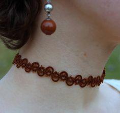 Brown сhoker Tatted necklace Tatting lace Ribbon 90s choker