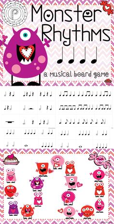 Valentine Music Game- review rhythms with this fun monster themed game!