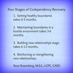 Four Stages of Codependency Recovery Video by Ross Rosenberg at http://youtu.be/Ytq51GMsd8w