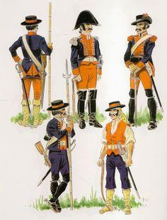 """CUERPOS DE BLANDENGUES   El """"Cuerpo de Blandengues ,de la Frontera  de Buenos Aires """",se organizo en 1780 , con 6 compañías de a 100 hombres  cada una y tomando com vase algunas compañias fronterizas  que existían desde 1724, su misión era la de vigilar  y proteger las fronteras del virreynato  de las frecuentes incursiones de los indios . En 1784 fue declarado cuerpo veterano."""