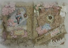 Little Girls Lace Collage Book French Journal Shabby door KHATSART