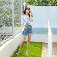 #envylook Vintage Pocket Distressed Denim Skirt #koreanfashion #koreanstyle #kfashion #kstyle #stylish #fashionista #fashioninspo #fashioninspiration #inspirations #ootd #streetfashion #streetstyle #fashion #trend #style