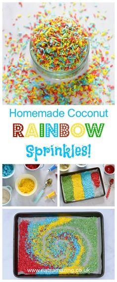 DIY Easy Homemade Rainbow Coconut Sprinkles Recipe - make your own customisable healthy sprinkles for kids Fairy Bread, Rainbow Food, Rainbow Sprinkles, Sprinkles Recipe, Sandwiches, Unicorn Foods, Healthy Dessert Recipes, Coconut Recipes, Healthy Food