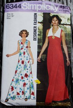 Simplicity Designer Fashion 6344 1970s 70s by EleanorMeriwether
