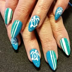 Sea turtle nail art blue french manicure accent summer nail art sea turtles by oli123 from nail art gallery prinsesfo Images