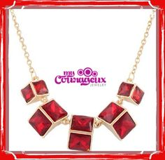 Shop Online For This Beautiful Ruby Red Cubic Necklace www.mycourageuxjewelry.com #mycourageuxjewelry #marketing #adversiting #bold #unique #different #branding #building #onlinestore #onlineshopping