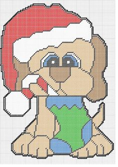 PUPPY IN SANTA HAT WITH STOCKING IN MOUTH by KATHY -- WALL HANGING