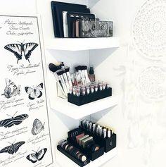 17 gorgeous makeup storage ideas | beauty | vanity organization ideas | makeup neatly organized on wall shelves