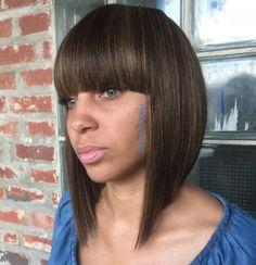 inverted bob with bangs for black women