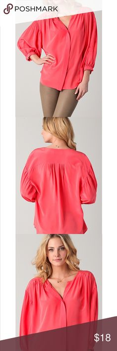 "Jeunesse Francoise Shopbop Blouse Pink S Very gently used and well taken care of blouse. This silk blouse features a split V neck and a hidden 5-button closure. Asymmetrical hem. Ruching at yoke, shoulders, and single-button cuffs. 3/4 long sleeve.  * 27"" long, measured from front shoulder. * 30"" long, measured from back shoulder. * Fabrication: Silk crepe. * 100% silk. * Dry clean. * Imported. Anthropologie Asos Revolve Nordstrom Zara for exposure Jeunnese Tops Blouses"