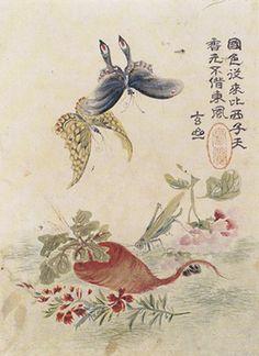 (Korea) 화청충접 by Hyeonjae Shim Sa-jeong (1707- 1769). color on paper. 29.8× 22.2cm. Gansong gallery, Korea.