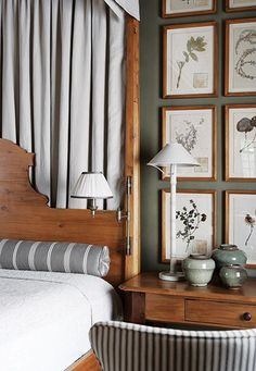 wood and taupe - love the pom pom chenille bedspread