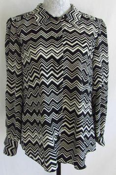 MISSONI For Target Womens XL Black & White Zig Zag Chevron Striped Shirt Blouse