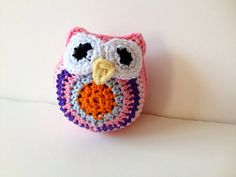 SOLD Tiny Crochet Owl Pink Orange Purple Blue by pigswife on Etsy, $15.00