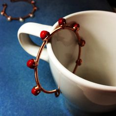 handmade unique boho red coral copper wire wrap cuff bangle  bracelet by BeadsLearnToRock