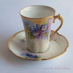 Free Shipping Antique Limoge Hand Painted by Arnold Rhodes at the Julius H. Brauer Studio of Chicago Bone China Tea Cup and Saucer