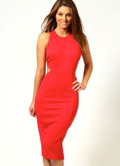 Red Cut Out Back Evening Dress