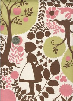 One Yard Japanese Cotton Canvas Silhouette Big Red Riding Hood Green