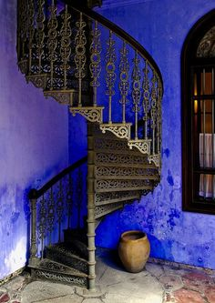 Spiral Stairway to Heaven Stairway To Heaven, Penang, Stair Steps, Interior Exterior, Interior Design, Mansion Interior, Blue Walls, Indigo Walls, Belle Photo