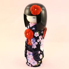 Kokeshi Kyo-Bijin(L)Black - Kokeshi Dolls / Kimura Ohshido Online Store:Japanese Dolls,Kokeshi and Crafts. Momiji Doll, Matryoshka Doll, Kokeshi Dolls, Hama Beads Minecraft, Perler Beads, Daruma Doll, Asian Doll, Wooden Dolls, Japan Art