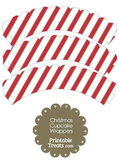Christmas Stripes Scalloped Cupcake Wrappers from PrintableTreats.com