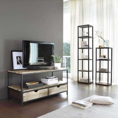 Metal industrial shelf tower unit in black H 110cm