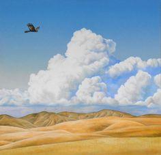 Painting by David Knowles. Artist Wall, Nz Art, Kiwiana, Bird Art, New Zealand, David, Clouds, Artwork, Painting