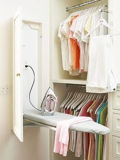 Built-In Ironing Board cabinet in laundry room or master closet Master Bedroom Closet, Budget Bedroom, Diy Bedroom, Design Bedroom, Bathroom Closet, Bedroom Small, Trendy Bedroom, Bedroom Wardrobe, Master Bedrooms