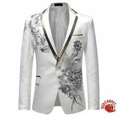 White and Silver Elegance Single Breasted Suit Jacket Men Red Carpet Fashion Attire Blazer Jacket Check out new pins on this board Mens Fashion Suits, Blazer Fashion, Prom Suits For Men, Costume Africain, Cool Outfits For Men, Designer Suits For Men, White Suits, Floral Blazer, Blazer Outfits