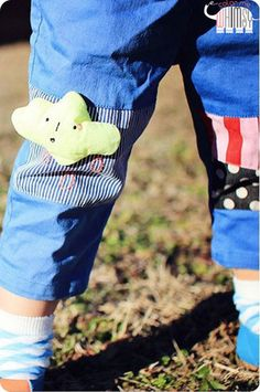Multi Patches Pants for spring. Cute style for play at Color Me WHIMSY.