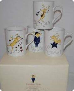 SOLD!! Pottery Barn Comet Cupid Donner Blitzen Reindeer Coffee Mugs Cups Set of 4 New | eBay