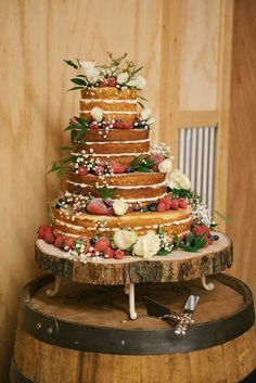 This multi-tiered naked cake covered in fresh berries and blooms went perfectly with Taylor and Joshua's woodland wedding. - This multi-tiered naked cake covered in fresh berries and blooms went perfectly . Woodland Wedding, Rustic Wedding, Our Wedding, Dream Wedding, Wedding Ideas, Wedding Lasso, Tartan Wedding, Wedding Fair, Forest Wedding