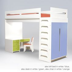 ducduc alex loft bed........................kids bed, kids bunk, modern kids furniture, loft bed, bunk bed.