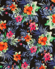 Cotton Lawn Fabric - Tropical Print on Black