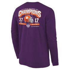 Clemson Tigers College Football Playoff 2015 Orange Bowl Champions Touchdown Score Long Sleeve T-Shirt - Purple